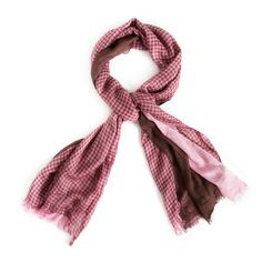 Check out this layered look scarf - always hot. Triple layers of fabric in pink, brown and gingham come together to make one stunning statement. Find it on Splendor Designs