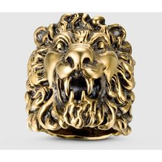 Gucci Lion Head Ring ($330) ❤ liked on Polyvore featuring jewelry, rings, gold, silver & leather jewelry, chains jewelry, gucci ring, gucci jewellery, gucci jewelry and lion head jewelry