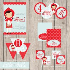 Little Red Ridding Hood Printable Party Complete Package via Etsy