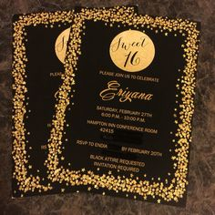 Printed Gold Sparkle and Confetti Sweet 16 Birthday Party Invitations at https://www.etsy.com/listing/267871757/sweet-sixteen-invitation-sparkle