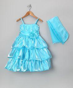 Love this Aqua Tiered Organza Dress & Wrap - Toddler & Girls by Kid's Dream on #zulily! #zulilyfinds