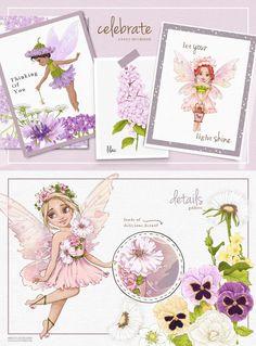 Fairy Clipart, Flower Clipart, Woodland Illustration, Graphic Illustration, Illustrations, Baby Shower Clipart, Drawing Clipart, Woodland Fairy, Nursery Prints