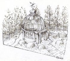 Watercolour and sketch of glass rotunda building Designed by Khora spaces. Show garden designed by Catherine MacDonald, Landform Consultants for Chelsea Flower show 2014
