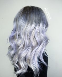 Platinum white blonde balayage, lavendar lilac purple hair