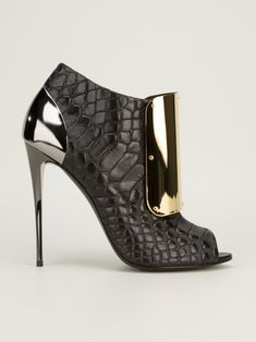 Giuseppe #Zanotti Crocodile Emboosed Gold Maxi Plate Booties Spring 2014 #Shoes #Heels