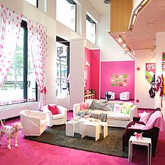 A super cute victoria secrets themed room! love it, it could be a girls sleep over room!
