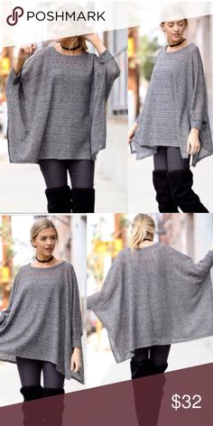 LAST-S Sheer Knit Gray Batwing Loose Top Super cute! Just size S left Tops Blouses