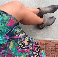 Colorful dress, Vince Camuto ankle boots and spray tan - great combination for a fall or spring outfit