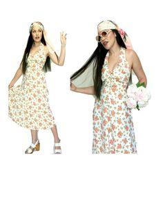 PINK RETRO HALTER Dress PD13 Rose Print 60s 70s Hippy White Cotton Spring Summer Vintage Clothing, Vintage Outfits, 70s Hippie, Hippy, White Cotton, Spring Summer, Summer Dresses, Retro, Rose