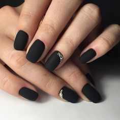 nice 30 Thrilling Ideas for Black Matte Nails - Trickling Delicacy