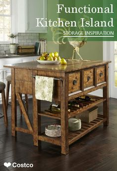 The Raleigh Kitchen Island is a multi-functional, versatile, addition to your home. The Raleigh features 3 deep storage drawers with smooth operating metal drawer guides, reversible shelf that is smooth on one side or is a bottle storage on the other side, an open slat bottom storage shelf, custom hardware pull in antiqued Pewter, a gate leg function that allows the table to expand into a dinette or work surface and features 2 metal towel racks at each end of the island.
