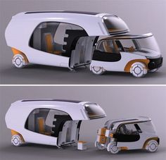 Bridging the gap between caravans and regular cars, designer Christian Susana has popped up with a multifunctional vehicle that functions as a caravan, when used as a whole, but when detached from the home part, it can also be used as a small car. Named Colim, short for colors of life in motion, the new mobility concept is designed to accommodate a small family. brilliant-cleverness