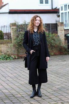 Summer Read - Zara Navy Polka Dot Blouse, Zara Masculine Black Wool Coat, Zara Black Cropped Trousers, Vagabond Marja Ankle Boots - Navy Polka Dots