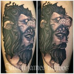 Neotraditional man in lion head tattoo