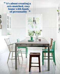 In Honor Of Design: Take A lofty corner, Mismatched Chairs, Stripes & Dots Mismatched Chairs, Sweet Home, Deco Nature, Round Dining Table, Dinning Set, Dining Area, Dining Chairs, Round Tables, Kitchen Dining