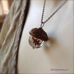 Glass Acorn Necklace - Encased Copper Oak Leaf - Transparent Light Brown by Bullseyebeads. $24.00, via Etsy.