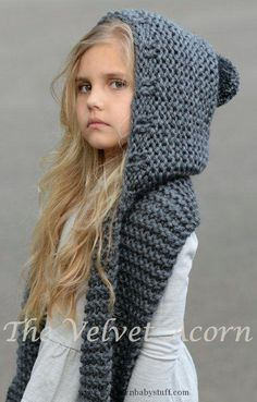 Baby Knitting Patterns Knitting Pattern for Adult and Child Sized Hooded Scarf - Th...