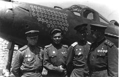 Aces awarded with the Golden Star of the Hero of Soviet Union: Alexander Klubov (31 + 19 kills), Grigory Rechkalov (61 + 4 kills), Andrey Trud (25 + 1 kills).