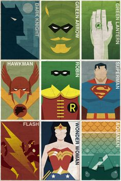 A powerful group of DC Superheroes have been turned into simplified posters by artist Michael Myers.