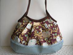 Handmade bag - soft floral - blue linen / cotton lace bottom