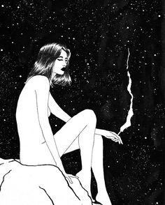 "3,743 Me gusta, 20 comentarios - Sivan Karim Illustrations © (@sivan.ka) en Instagram: ""Midnight Cigarette. That one last cigarette before trying to sleep. #art #illustration #drawing…"""