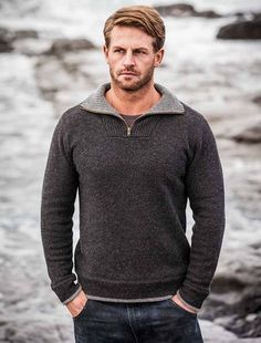 Mens Half Zip Wool Sweater - Charcoal