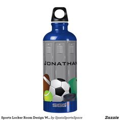 Cute Custom Peace Love Tennis Ball Blue SIGG Traveler Water Bottle to be personalized with player and school or team name for Christmas. Monogram Water Bottle, Water Bottle Design, Aluminum Water Bottles, Plastic Bottles, Sports Locker, Name Drawings, Sigg Bottles, Name Paintings, Skull Painting