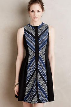 at anthropologie Pyramid Flare Dress Lovely Dresses, Simple Dresses, Dresses For Work, Batik Fashion, Hijab Fashion, Batik Mode, Blouse Batik, Batik Blazer, Batik Kebaya