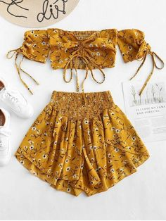 Off Shoulder Cinched Floral Women Set Summer Slash Neck Short Sleeves Crop Top High Waist Shorts Set Beach Boho Suits Size S Color Golden Brown Teen Fashion Outfits, Mode Outfits, Outfits For Teens, Girl Outfits, Trendy Fashion, Style Fashion, Fasion, Cute Casual Outfits, Cute Summer Outfits