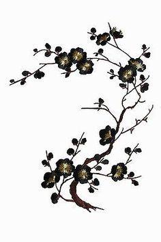 "#6767C 10-5/8"" Black,Gold Quince, Sakura Flower Embroidery Applique Patch"