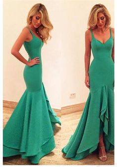Sexy Straps Mermaid Layers  Long  Satin Prom Dresses Evening  Dresses  (ED1594)