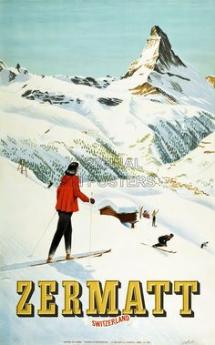 RJ148 Zermatt 1947 Original ski poster Swiss Suisse Affiche originale WEB.jpg 1,120×1,800 pixels