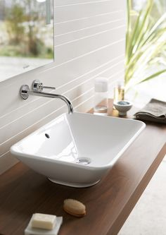 If you envy the sleek & simple lines of chic bathrooms in boutique hotels & fashionable restaurants the add a vessel basin
