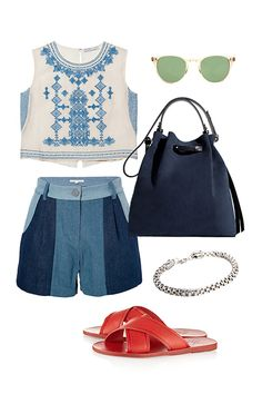 3 Ways To Wear Our Favorite Spring Shorts #refinery29  http://www.refinery29.com/patchwork-denim#slide1  Friday Happy Hour  Want to kick off your weekend right? Well, you've got to dress the part. Wear your new patchwork shorts with a sweet, embroidered crop top, spicy-red leather sandals, and laid-back, classic-California sunnies. Now all you need is outdoor seating and a round of perfectly made margaritas.