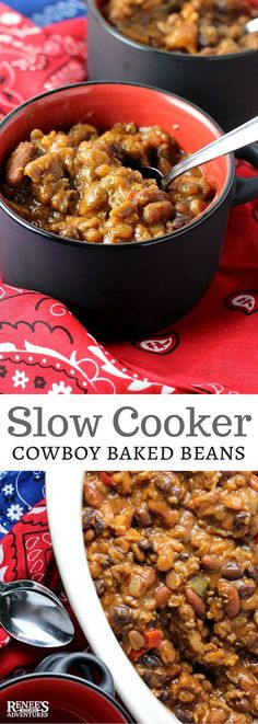 Slow Cooker Cowboy Baked Beans | Renee's Kitchen Adventures - easy slow cooker recipe for cowboy baked beans made with beef, bacon, peppers and love! Makes a hearty side dish or complete dinner! #SundaySupper #RootsinBoots