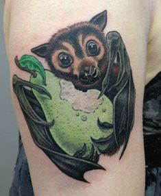"""forgottensaintsla: """" Fruit Bat Tattoo by Sara Lou. Forgotten Saints Tattoo Studio 7569 Melrose, Hollywood CA 90046 Cute Tattoos, Beautiful Tattoos, Body Art Tattoos, Sleeve Tattoos, Tatoos, Home Tattoo, Bat Pics, Saint Tattoo, Vegan Tattoo"""