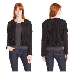 Sam Edelman faux suede fringe jacket. Black, cropped, faux suede, fringe jacket. Collarless, open style with no closure.   Trades, holds or PP.   Reasonable offers will be considered.  Lowballs will be declined/ignored.  Use offer button to discuss price. Sam Edelman Jackets & Coats
