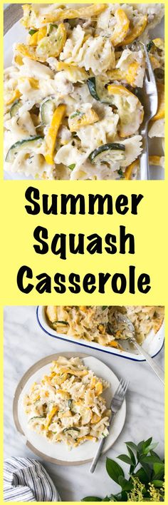 Loads of zucchini and summer squash in the best lighter fare comfort food casserole! Side Dishes Easy, Vegetable Side Dishes, Side Dish Recipes, Veggie Recipes, Healthy Dinner Recipes, Pasta Recipes, Delicious Recipes, Healthy Dinners, Healthy Tips