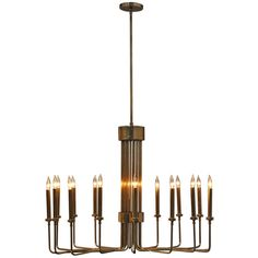 Brass - Sixteen Candle Chandelier - circa 1950s