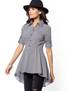 Stripe Hi-Lo Peplum Tunic Shirt - New York & Company Stylish Dress Designs, Designs For Dresses, Stylish Dresses, Batik Fashion, Fashion Sewing, African Fashion Dresses, Fashion Outfits, Costura Fashion, Girls Frock Design