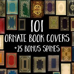 101 Decorative Book Covers: Book Digital Paper, Old Book Graphics, Printable Book Cover, Digital Book Textures, Includes 25 Antique Spines