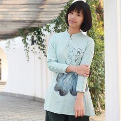 Lotus Painted Mandarin Collar Shirts Light Blue  by ChineseBespoke, $79.00