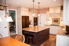 Kitchen Appliances, Laminate Kitchen Flooring And Oil Rubbed Bronze Kitchen Appliances Plus White Wooden Kitchen Cabinet Also Small Cream Marble Countertop Kitchen Island Under Two Tiny Pendant Lights: Bronze Kitchen Appliances For Fresh Look And Enjoyable Cooking Process