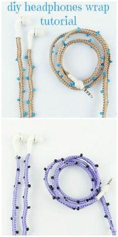 DIY Stylish Headphones Wrap Video Tutorial. Very Easy, you just need cord, seed beads and your earphones. Project by www.imaginehearts.com #headphones #earphones #ear buds #iphone #phone accessories #diy #video tutorial