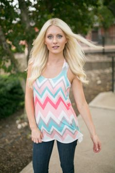 Magnolia Boutique Indianapolis - Multi Color Knit Chevron Racerback Tank, $26.00 (http://www.indiefashionboutique.com/multi-color-knit-chevron-racerback-tank/)