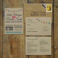 Vintage Bunting Wedding Invitation Suite & Save by FeelGoodInvites