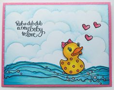 Send heart love for the new baby in the #cre8time card by Louise Healy. #Stampendous #welcomebaby