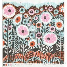 Flower Power linocut print by Zebedeeprint on Etsy