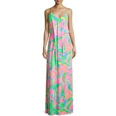 Lilly Pulitzer Rosa Sleeveless Printed Maxi Dress ($265) ❤ liked on Polyvore featuring dresses, multi, pink sleeveless dress, racerback maxi dress, floral maxi dress, pink jersey and v neck dress