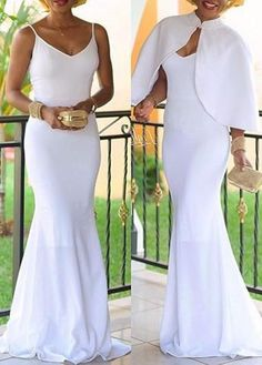 Trendy Her Fashion Solid White Colour Hammock Shawl Evening Dress